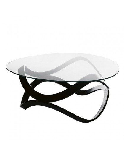 Newton - Glass coffee table with wooden base