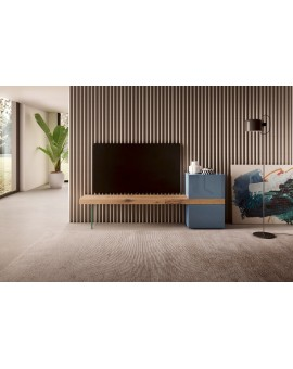 36e8 - TV unit in polished glass and wildwood